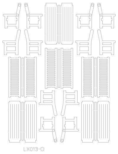 LX013-O Laser Cut Park Benches (Pack of 3) O/7mm/1:43
